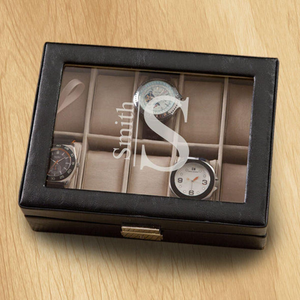 Monogrammed Watch Box - Black Leather - Holds 10 Watches - Modern - JDS