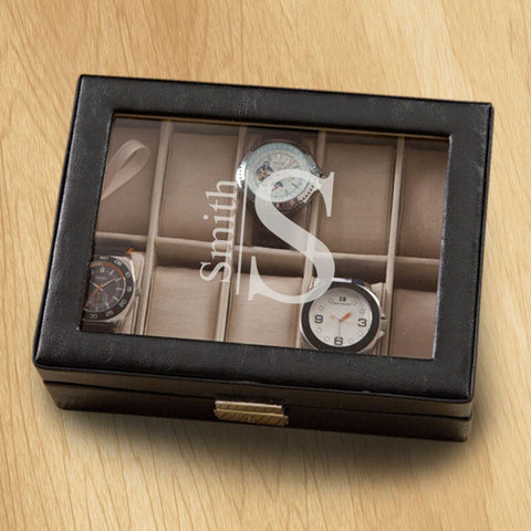 Monogrammed Watch Box - Black Leather - Holds 10 Watches at AGiftPersonalized