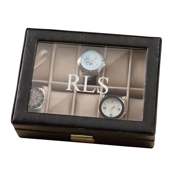Personalized Leather Watch Box- Black - Monogrammed - 3Initials - JDS