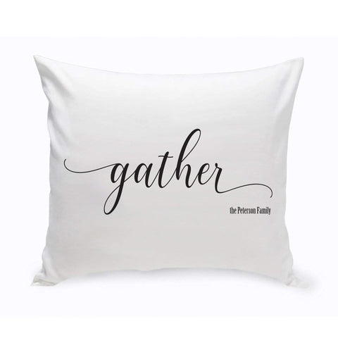 Modern Farmhouse Personalized Gather Throw Pillow at AGiftPersonalized