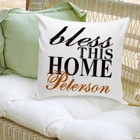 Personalized Throw Pillow - BlessThisHome - Home Decor - AGiftPersonalized