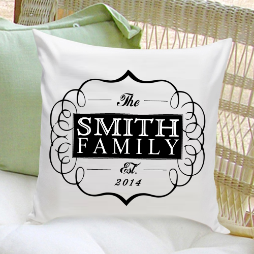 Personalized Family Name Throw Pillow - White/Black -  - JDS