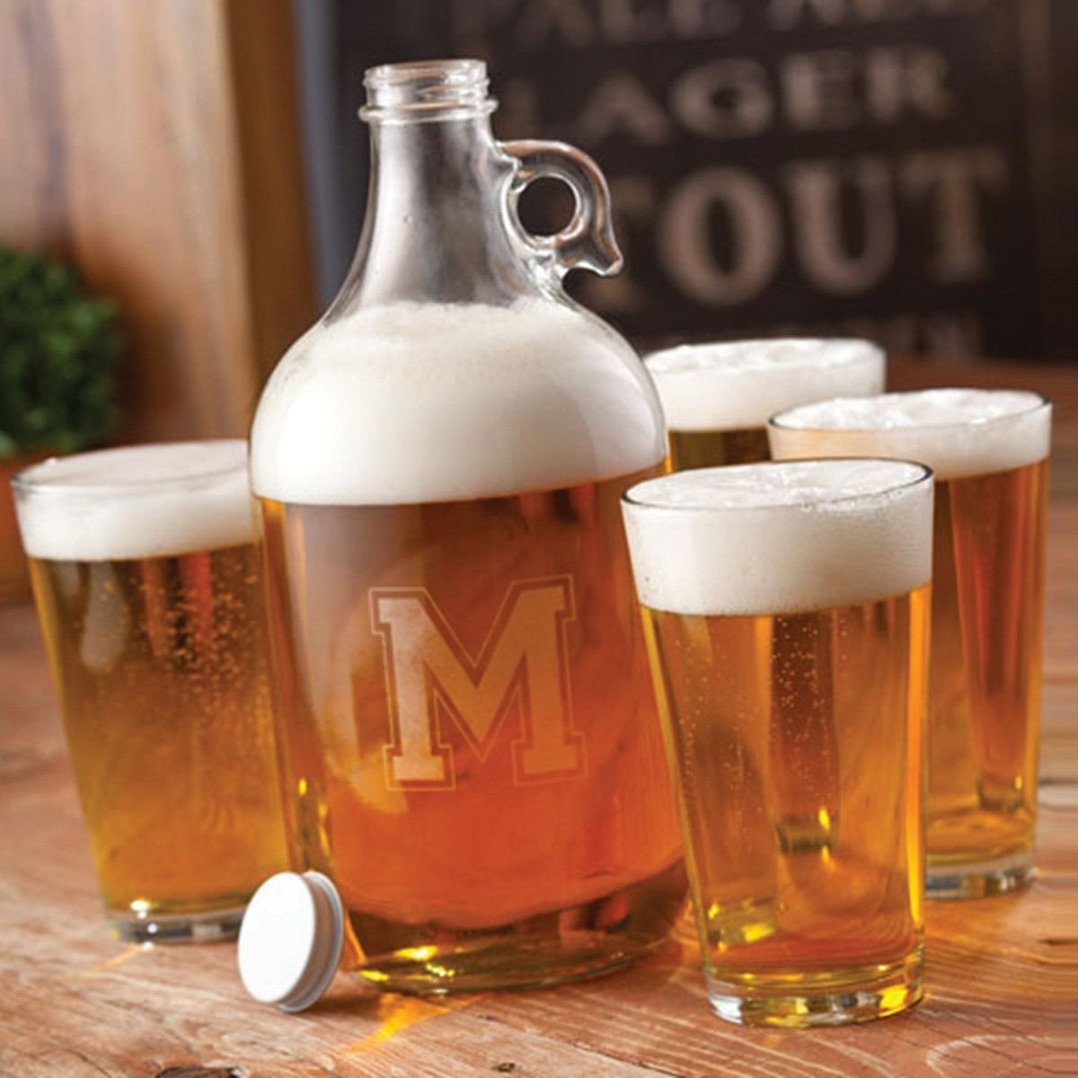 Personalized Glass Beer Growler Set with 4 Pint Glasses
