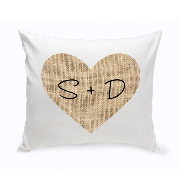 Personalized Burlap Heart Throw Pillow -  - JDS
