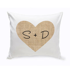 Personalized Couples Throw Pillows - Burlap Heart -