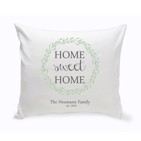 Personalized Home Sweet Home Throw Pillow - Green Wreath -  - Home Decor - AGiftPersonalized