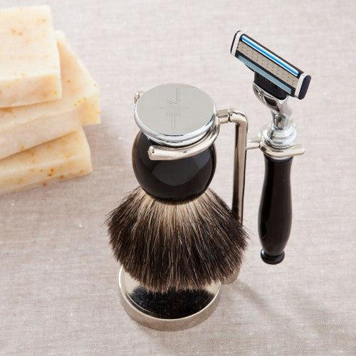 Personalized Black Badger Shave Brush w/Gillete Mach 3 Blade & Stand