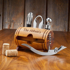 Personalized Wine Barrel Accessory Set at AGiftPersonalized