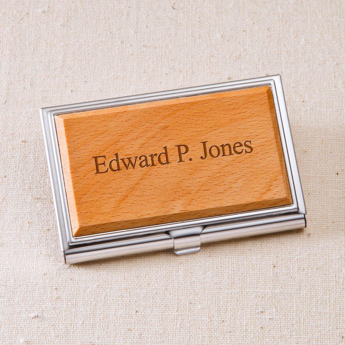 Personalized wood business card case colourmoves