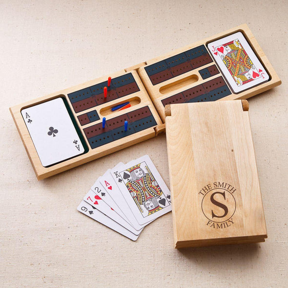 Personalized Wood Cribbage Game - Monogram - Circle - JDS