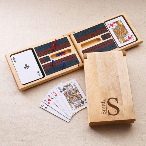 Personalized Wood Cribbage Game - Modern
