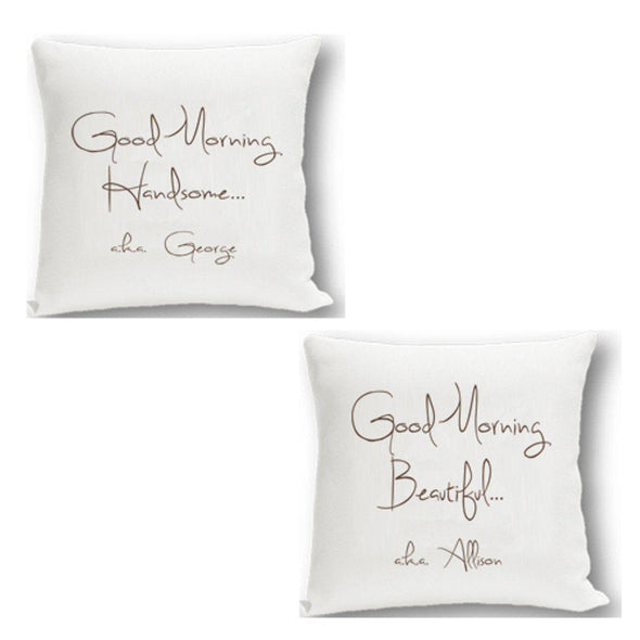 Personalized Couples Throw Pillow Set - Handsome Beautiful - JDS