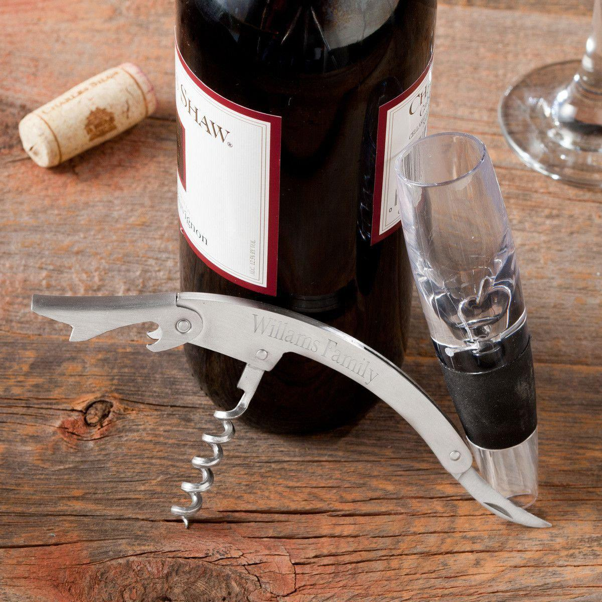 Engraved Wine Aerator and Cork Screw Set
