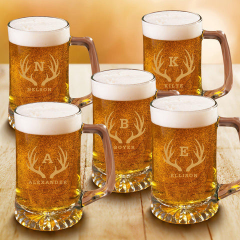 Personalized Beer Stein Set of 5 - 25 oz. Sports Mugs for Groomsmen - Antler