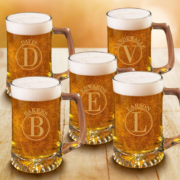 Personalized Beer Stein Set of 5 - 25 oz. Sports Mugs for Groomsmen - Circle