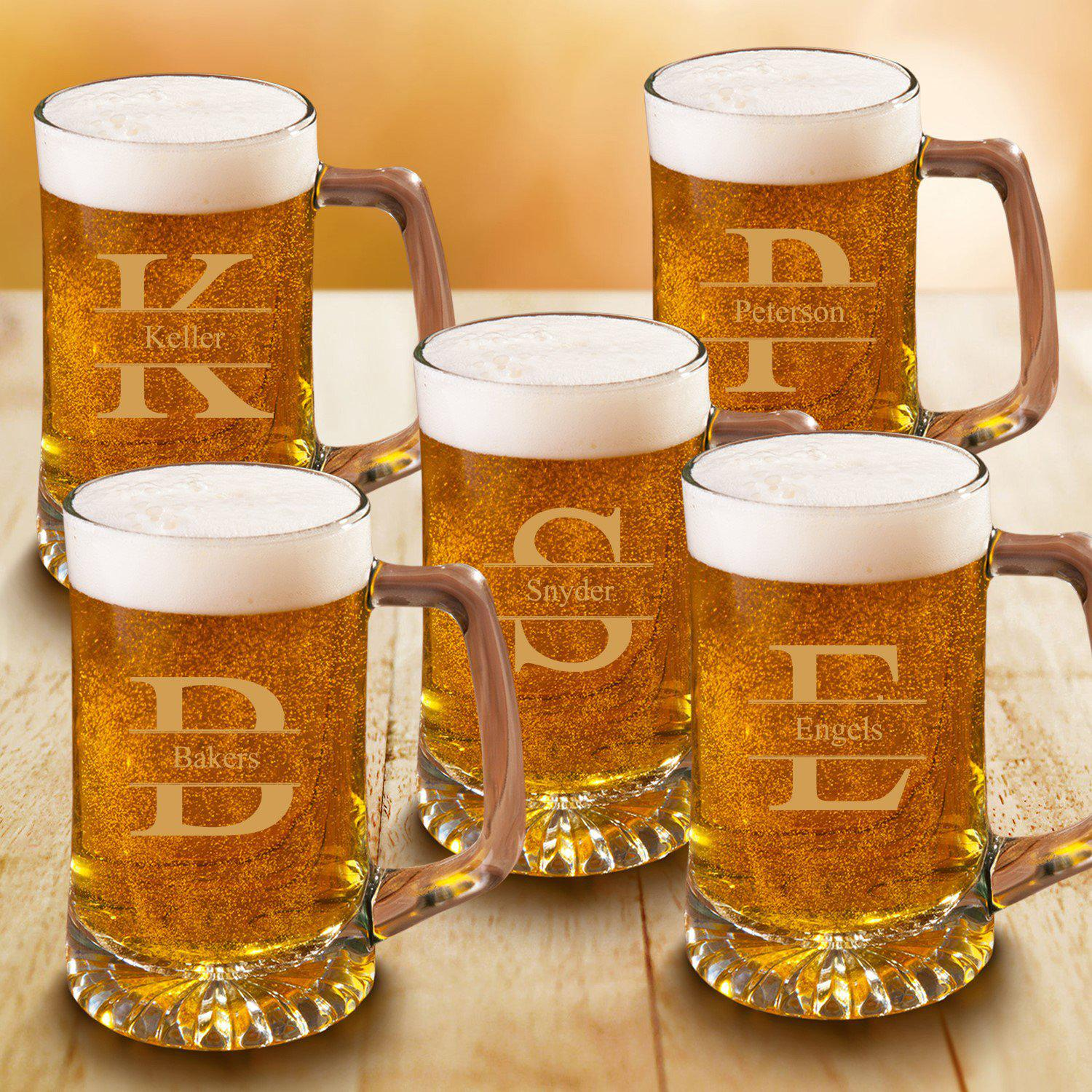 Personalized Beer Stein Set of 5 - 25 oz. Sports Mugs for Groomsmen
