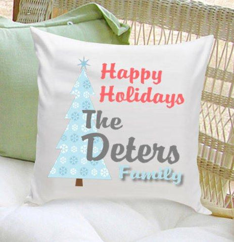 Personalized Happy Holiday Throw Pillows -  - Home Decor - AGiftPersonalized