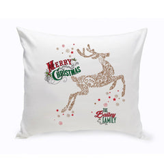Personalized Vintage Deer Holiday Throw Pillow -