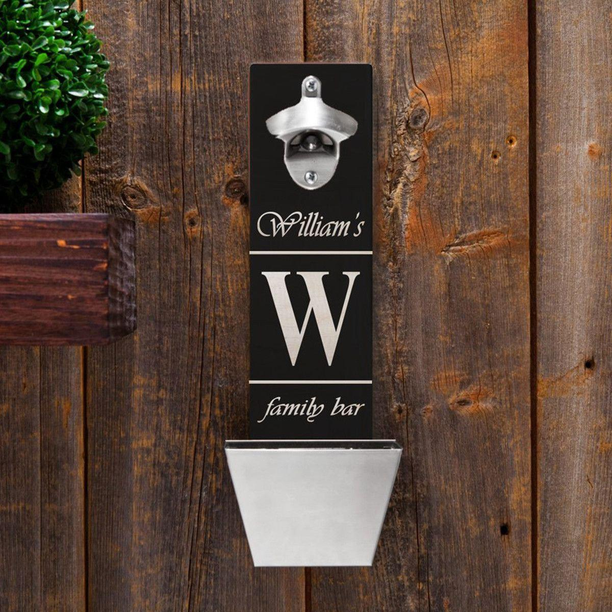 Personalized Wall Mounted Bottle Opener - Family Bar