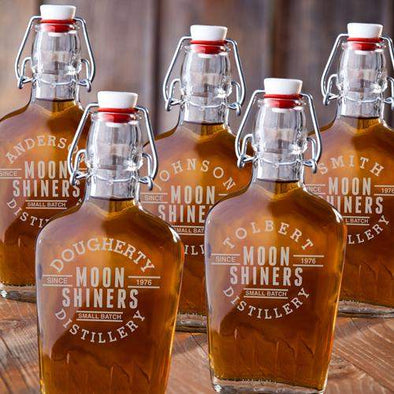 Set of 5 Engraved Vintage Glass Flasks - Moonshiners - JDS