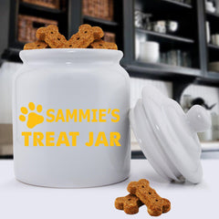 Personalized Colorful Classic Dog Treat Jars - Happy Paws - GoldenYellow - Pet Gifts - AGiftPersonalized