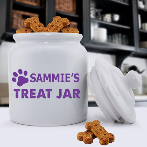 Personalized Colorful Classic Dog Treat Jars - Happy Paws - Purple - Pet Gifts - AGiftPersonalized