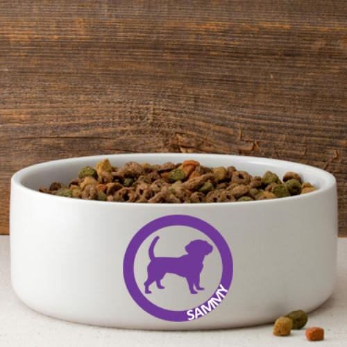 Personalized Circle of Love Silhouette Large Dog Bowl -  - JDS