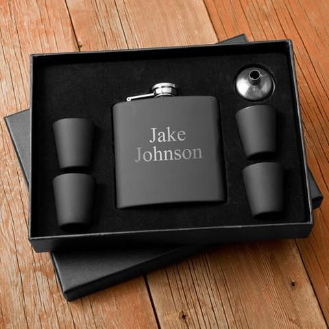 Personalized Flasks - Shot Glass - Gift Set - Black - Groomsmen Gifts -