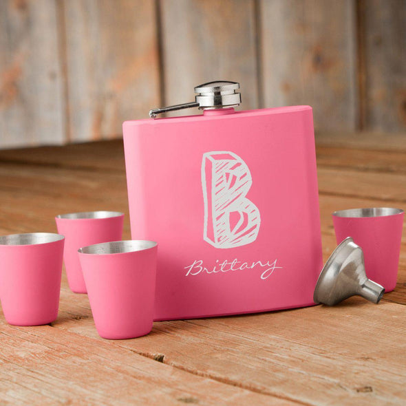 Set of 5 Personalized Monogrammed Pink Flask & Shot Glass Gift Box Set -  - JDS