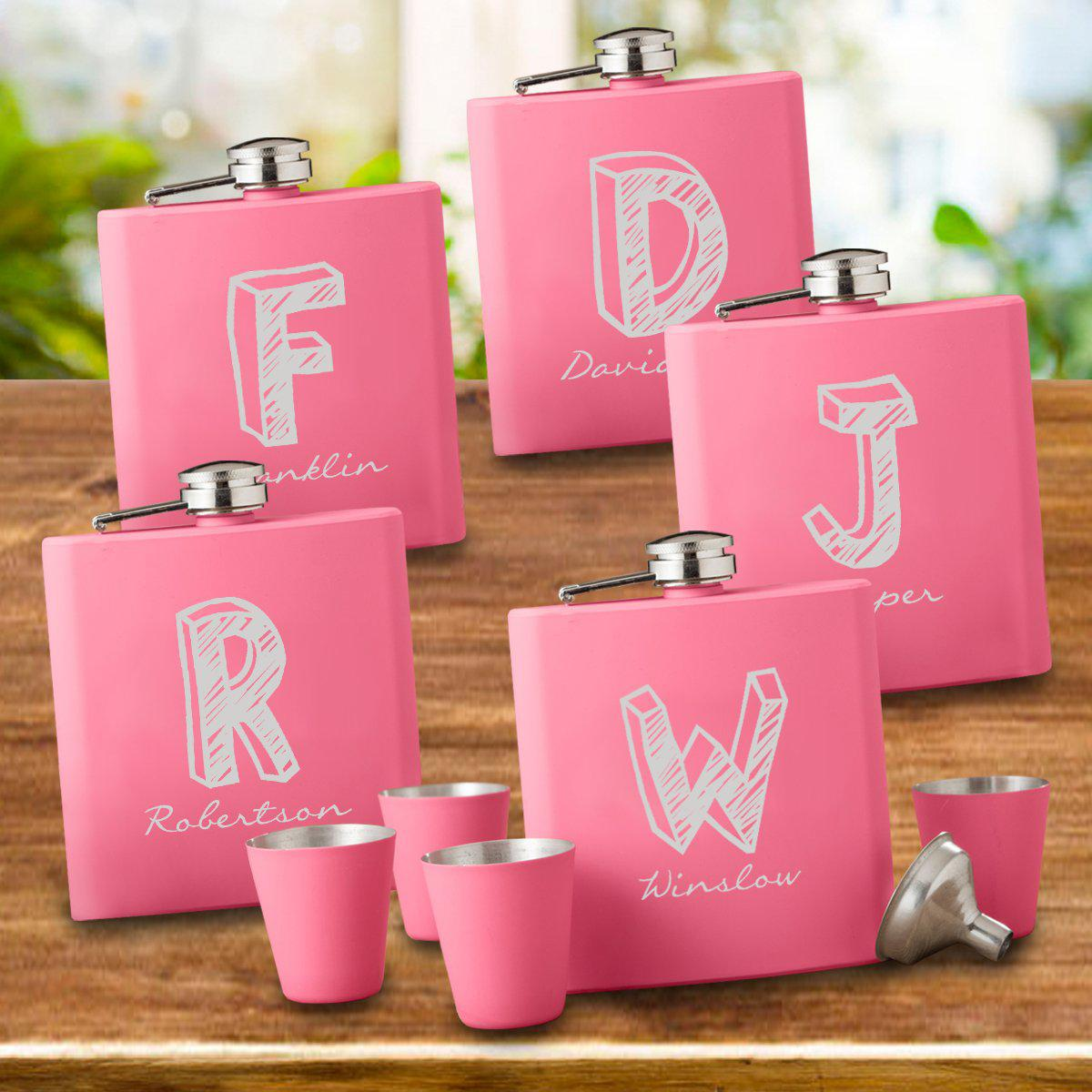 Set of 5 Personalized Monogrammed Pink Flask & Shot Glass Gift Box Set