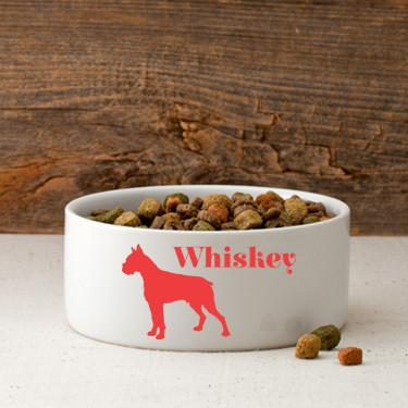 Personalized Man's Best Friend Silhouette Small Dog Bowl - Red - JDS