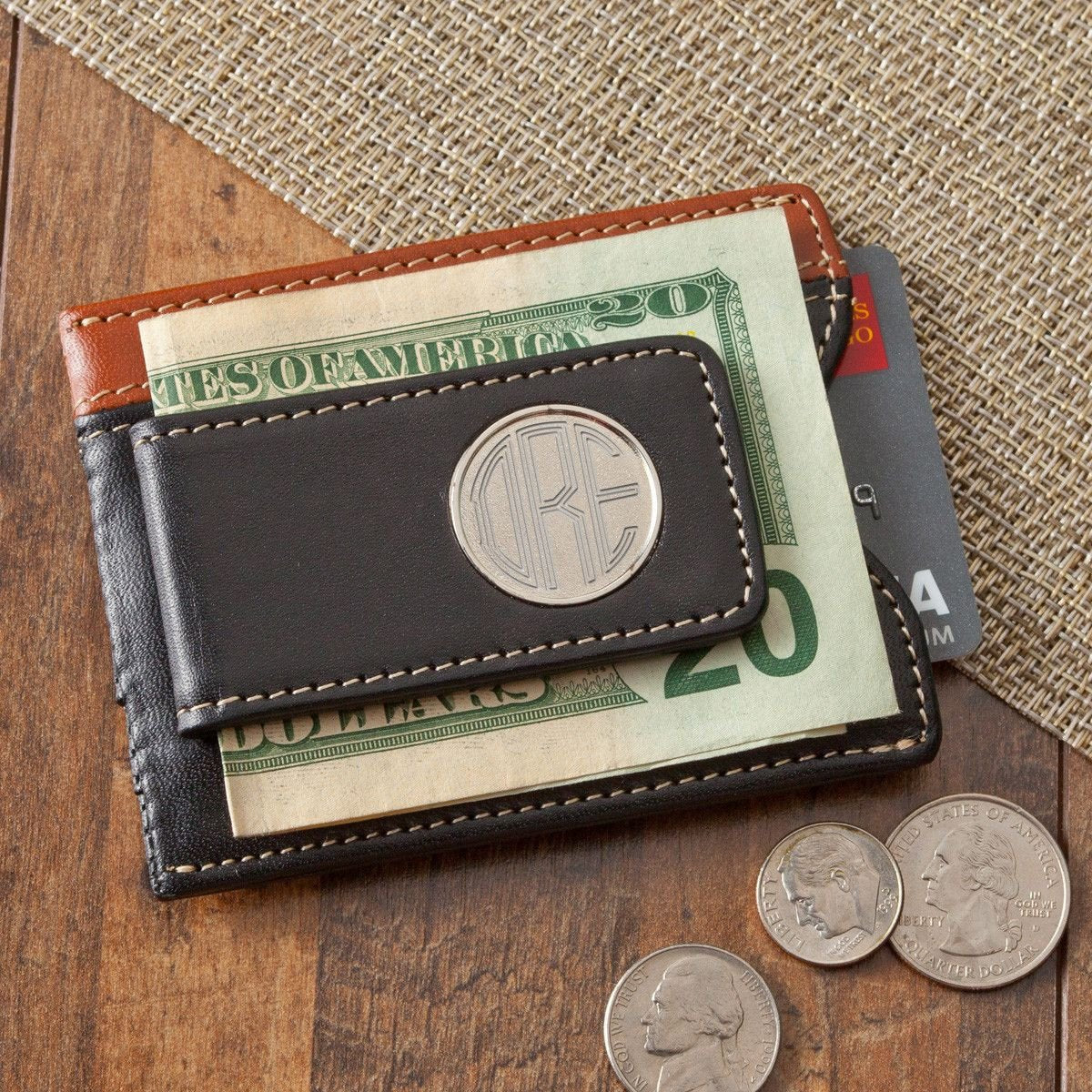 Personalized Wallet - Money Clip - Two Toned Leather - Magnetic
