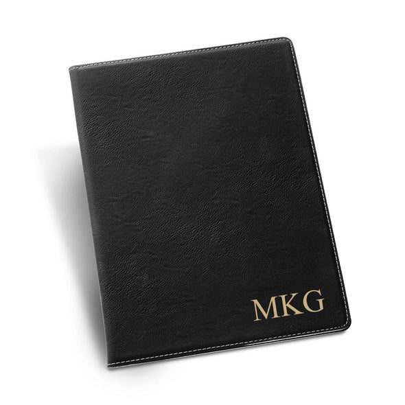 Personalized Portfolio - Vegan Leather - with Notepad - Executive Gift - Black - JDS