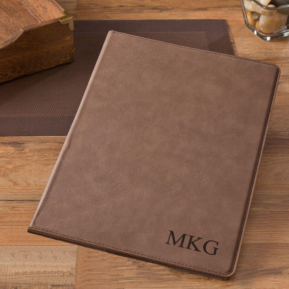Personalized Portfolio - Vegan Leather - with Notepad - Executive Gift - Mocha - JDS