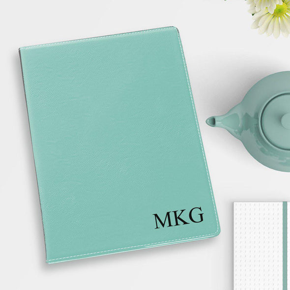 Personalized Portfolio - Vegan Leather - with Notepad - Executive Gift - Mint - JDS