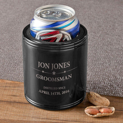 Personalized Groomsmen Black Metal Can Cooler - Distilled - JDS