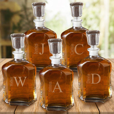 Set of 5 Groomsmen Personalized Whiskey Decanters - 23 oz. - Modern - JDS
