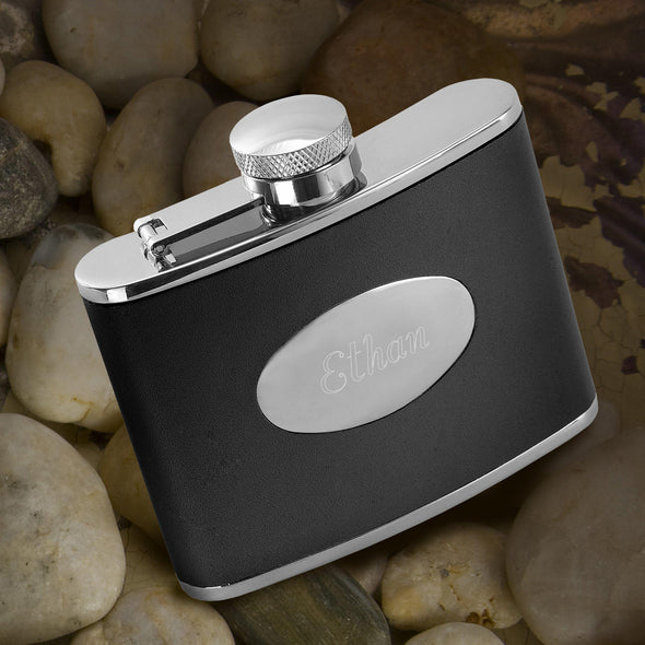 Personalized Black Leather Flask - Stainless Steel -  - JDS