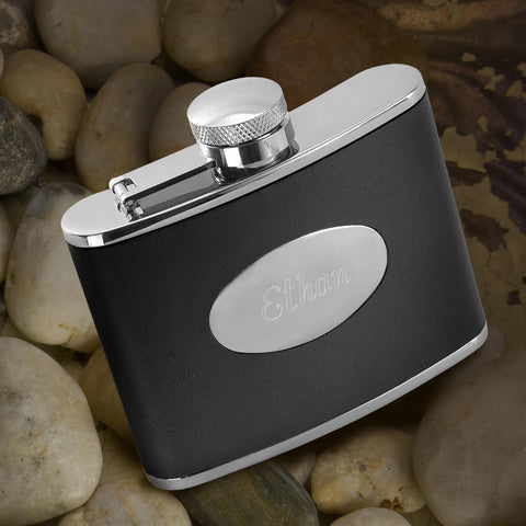 Personalized Flasks - Leather - Stainless Steel - Groomsmen Gifts -  - Flasks - AGiftPersonalized