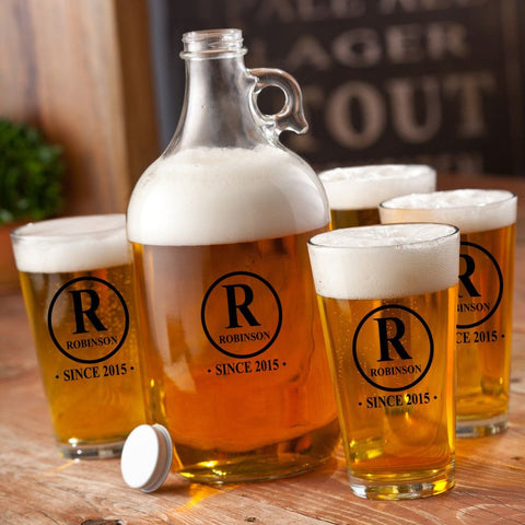 Personalized Growler - 4 Pint Glasses - Growler Set - 64 oz. - Initial - Personalized Barware - AGiftPersonalized