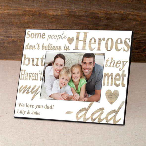 Personalized Father's Day Picture Frames - White/Gold - JDS