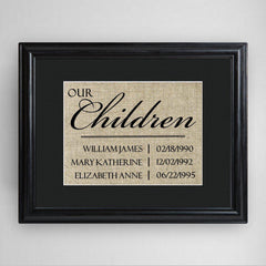 Personalized Our Children Framed Print -  - Personalized Wall Art - AGiftPersonalized