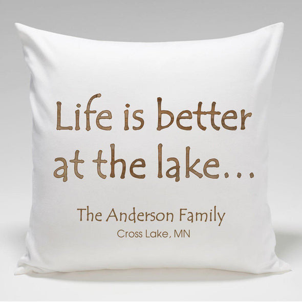 Personalized Cabin Throw Pillow - AtTheLake - JDS