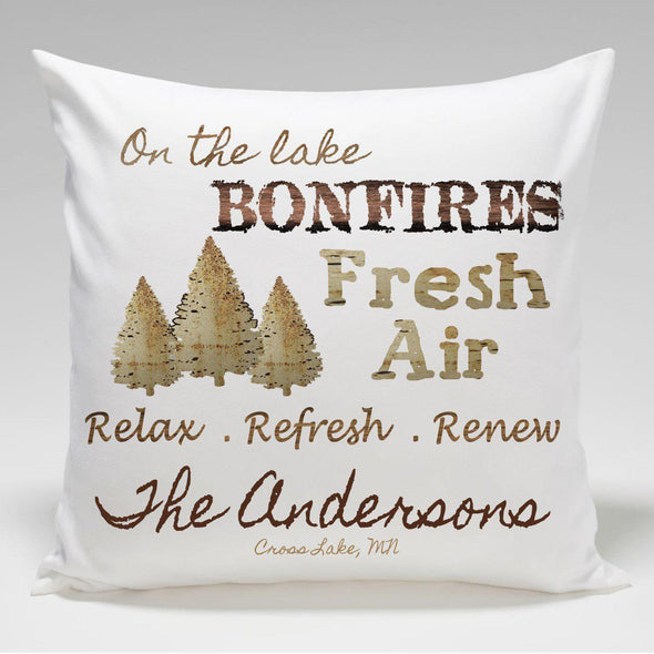 Personalized Cabin Throw Pillow - Bonfire - JDS