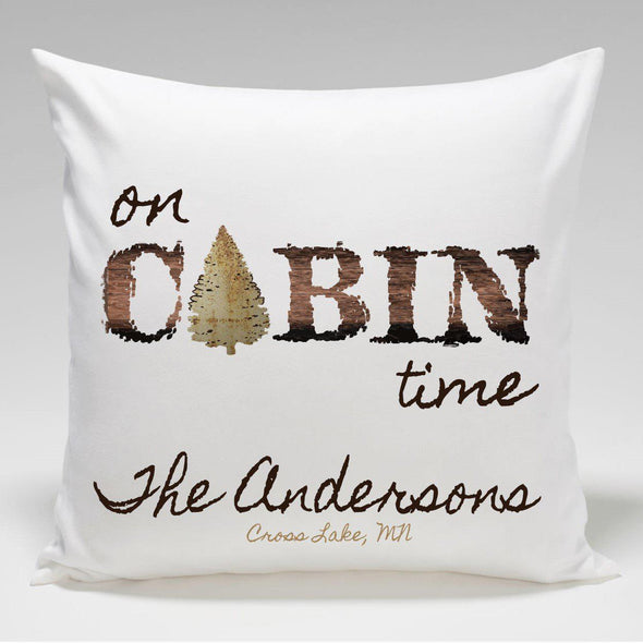 Personalized Cabin Throw Pillow - CabinTime - JDS