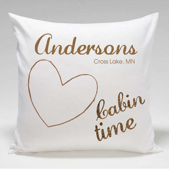 Personalized Cabin Throw Pillow - Heart - JDS