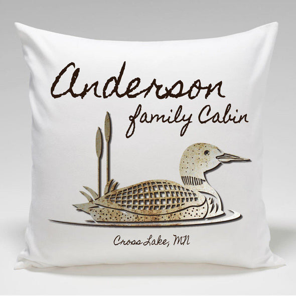Personalized Cabin Throw Pillow - Loon - JDS