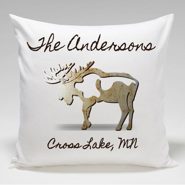 Personalized Cabin Throw Pillow - Moose - JDS