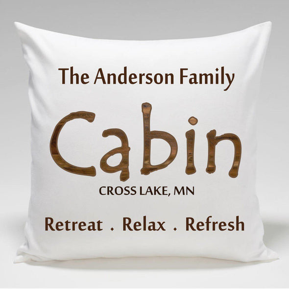 Personalized Cabin Throw Pillow - Retreat - JDS