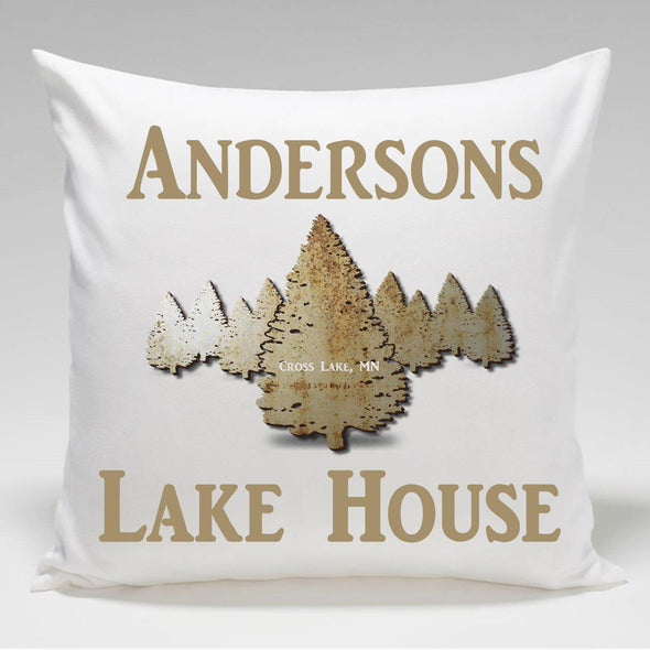 Personalized Cabin Throw Pillow - Spruce - JDS